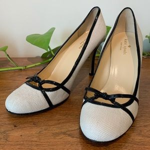 Kate Spade Raffia Woven Patent Leather Bow Heels
